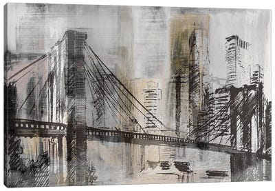 Brooklyn Bridge Twilight Detail Canvas Art Print