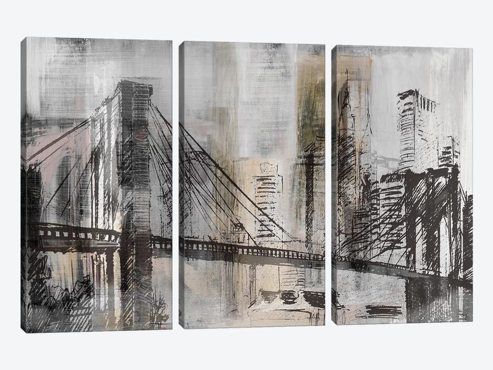 Brooklyn Bridge Twilight Detail by Susan Jill 3-piece Canvas Wall Art
