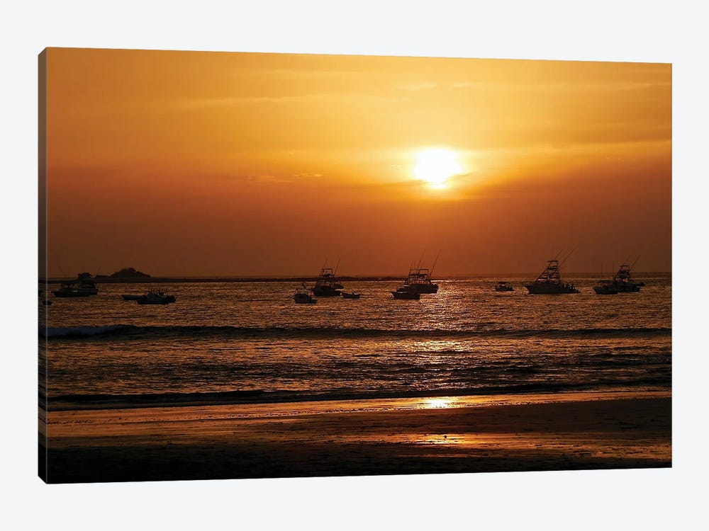 Boats On The Ocean At Sunset by Susan Vizvary 1-piece Canvas Print