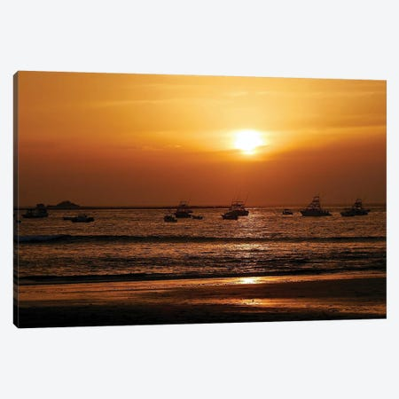 Boats On The Ocean At Sunset Canvas Print #SUV175} by Susan Vizvary Canvas Wall Art