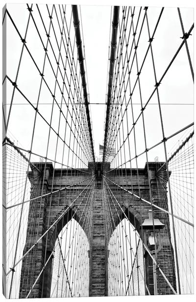 Brooklyn Bridge With Flag I Canvas Art Print