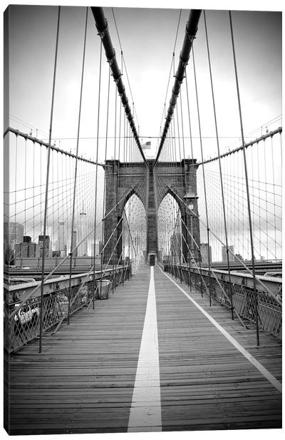Brooklyn Bridge With Flag II Canvas Art Print