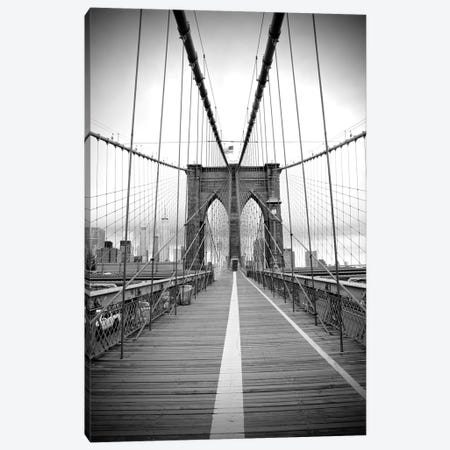 Brooklyn Bridge With Flag II Canvas Print #SUV178} by Susan Vizvary Canvas Art Print