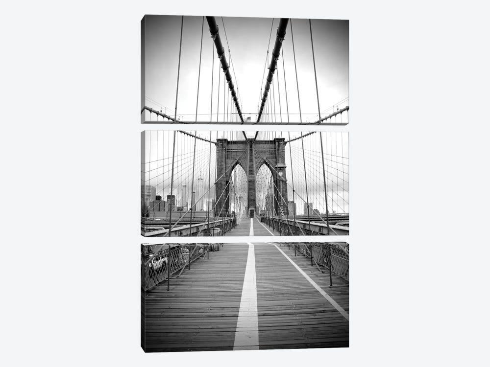 Brooklyn Bridge With Flag II by Susan Vizvary 3-piece Canvas Artwork
