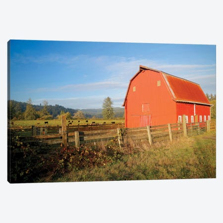Red Barn With Cows II Canvas Print #SUV191} by Susan Vizvary Canvas Print
