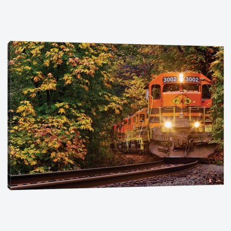 Trains Coming Canvas Print #SUV194} by Susan Vizvary Canvas Wall Art