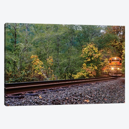 Train On The Tracks Canvas Print #SUV214} by Susan Vizvary Art Print