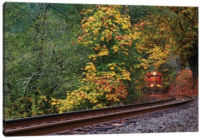 Train Starting On The Tracks Canvas Art Print