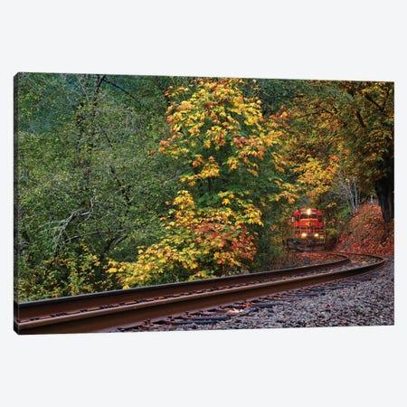 Train Starting On The Tracks Canvas Print #SUV215} by Susan Vizvary Canvas Art Print