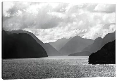 Mountain Layers In Black And White Canvas Art Print