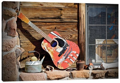 Guitar In The Window Canvas Art Print