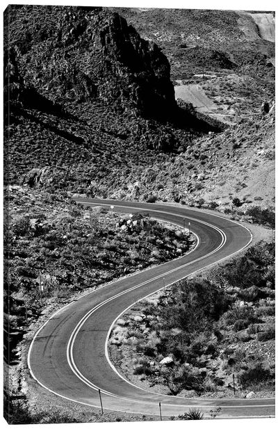 Kingman Curved Road In Black And White Canvas Art Print