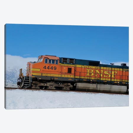 Orange Train In Snow Canvas Print #SUV257} by Susan Vizvary Canvas Art Print