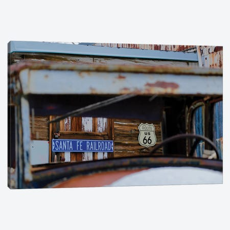 Road Signs Through The Window Canvas Print #SUV258} by Susan Vizvary Canvas Wall Art