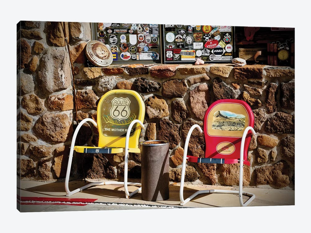Route 66, 2 Chairs by Susan Vizvary 1-piece Canvas Print