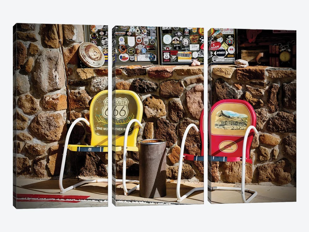 Route 66, 2 Chairs by Susan Vizvary 3-piece Art Print