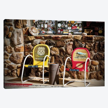 Route 66, 2 Chairs Canvas Print #SUV259} by Susan Vizvary Canvas Wall Art