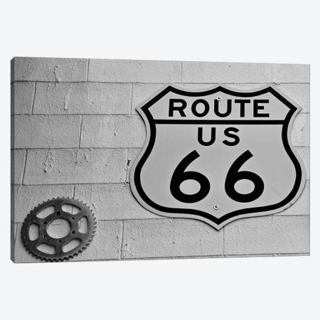 Route 66, White Wall Sign Canvas Print #SUV261} by Susan Vizvary Canvas Art Print