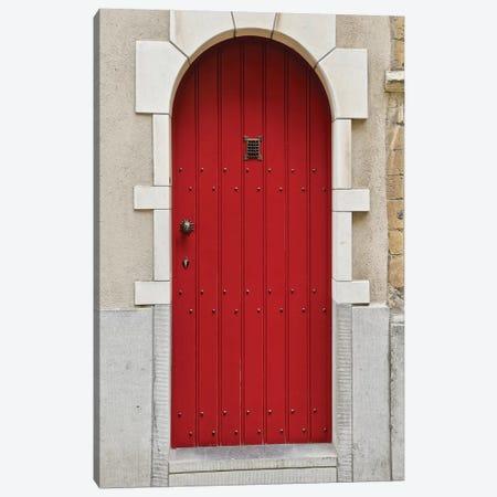Belgium Red Door Canvas Print #SUV273} by Susan Vizvary Canvas Artwork