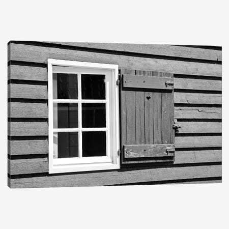 Heart Window Panel In Black And White  3-Piece Canvas #SUV282} by Susan Vizvary Art Print