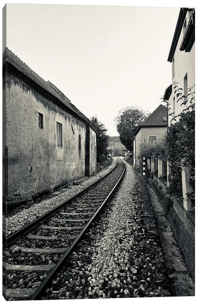 Train Tracks In Black And White Canvas Art Print