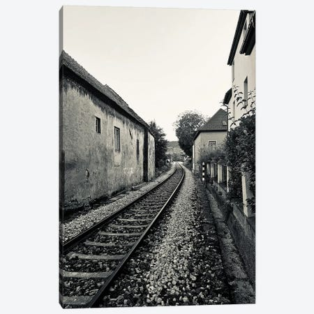 Train Tracks In Black And White Canvas Print #SUV294} by Susan Vizvary Canvas Print