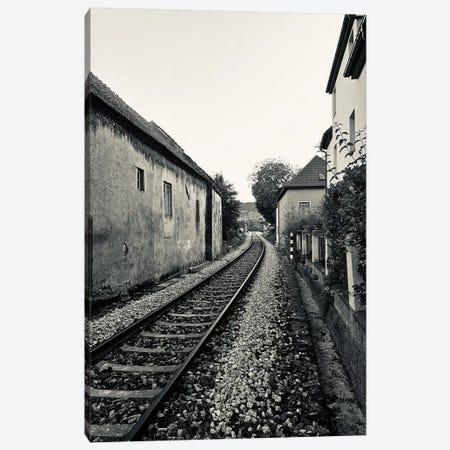 Train Tracks In Black And White Canvas Print #SUV294} by Susan Vizvary Canvas Print
