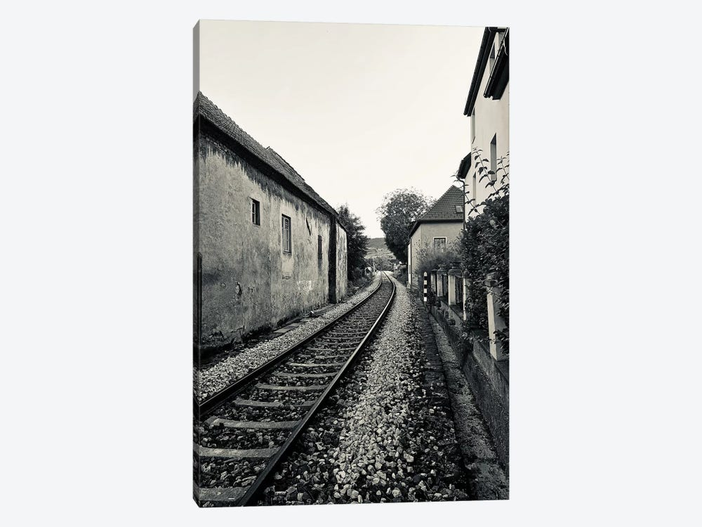 Train Tracks In Black And White by Susan Vizvary 1-piece Canvas Artwork