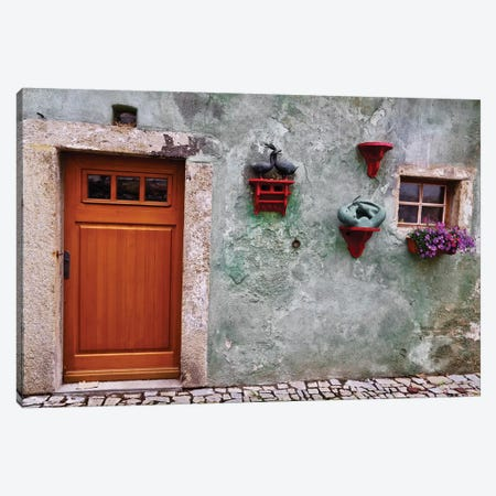 Weathered Wall With Wood Door Canvas Print #SUV296} by Susan Vizvary Canvas Art Print