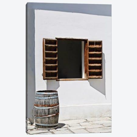 Window With Barrel Canvas Print #SUV298} by Susan Vizvary Canvas Artwork