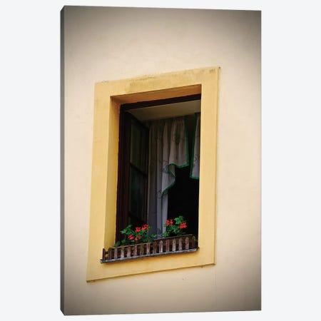 Yellow Window Flower Box Canvas Print #SUV302} by Susan Vizvary Canvas Art