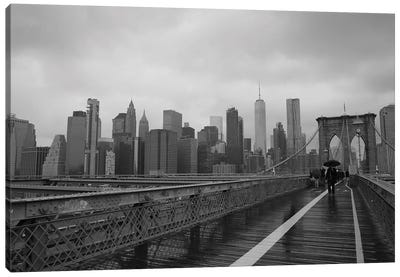 City Scape From Brooklyn Bridge Canvas Art Print