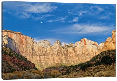 Moonrise Over Zion Canvas Art Print