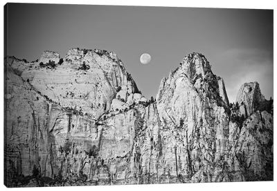 Utah Moonrise In Black And White Canvas Art Print