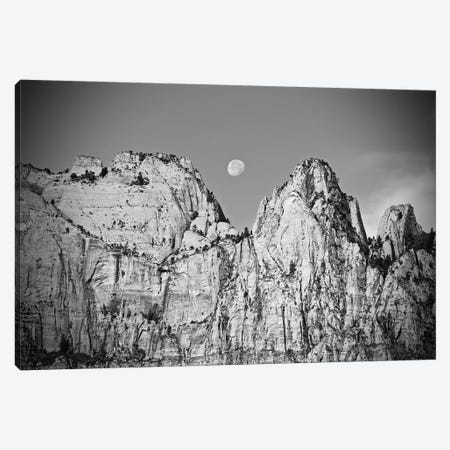 Utah Moonrise In Black And White 3-Piece Canvas #SUV318} by Susan Vizvary Art Print
