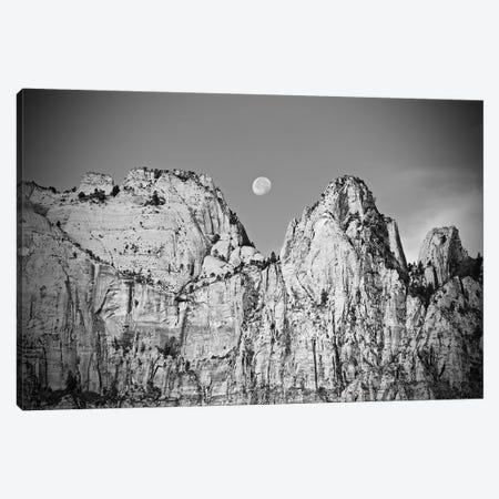 Utah Moonrise In Black And White Canvas Print #SUV318} by Susan Vizvary Art Print