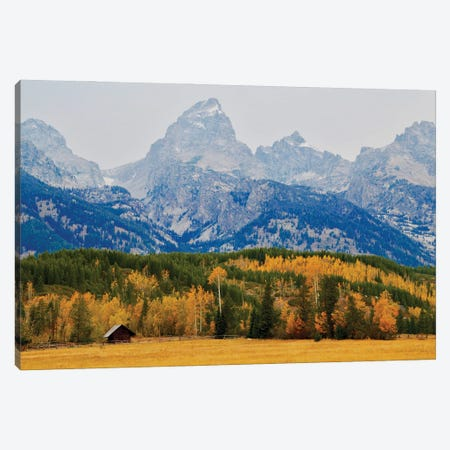 Grand Tetons Log Cabin Canvas Print #SUV345} by Susan Vizvary Art Print