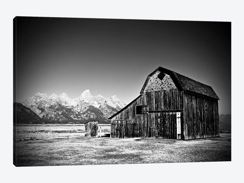 Grand Tetons Barn In Black And White by Susan Vizvary 1-piece Canvas Art Print