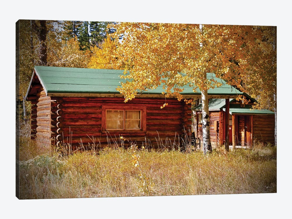 Log Cabin In The Woods by Susan Vizvary 1-piece Canvas Art Print