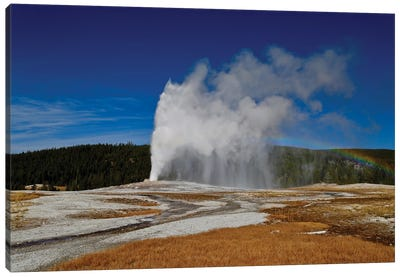 Old Faithful Rainbow Canvas Art Print