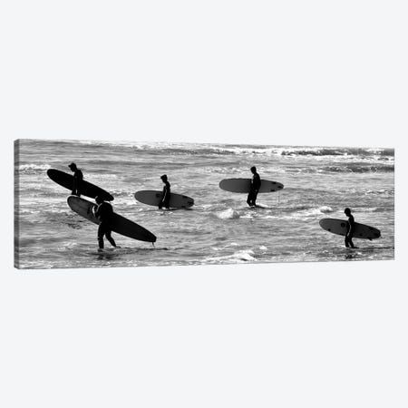5 Surfers In Black And White Canvas Print #SUV382} by Susan Vizvary Canvas Artwork