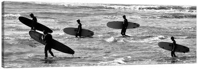 5 Surfers In Black And White Canvas Art Print