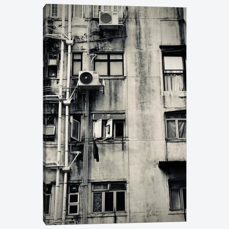 Hong Kong Building In Black&White Canvas Print #SUV43} by Susan Vizvary Canvas Wall Art