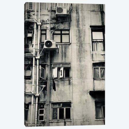 Hong Kong Building In Black&White Canvas Print #SUV43} by Susan Vizvary Canvas Wall Art