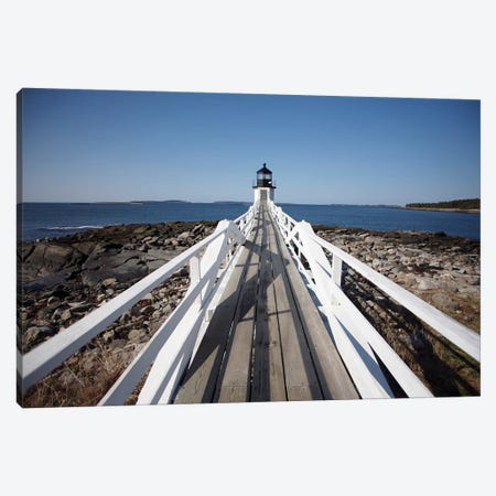 Maine Lighthouse Walkway Canvas Print #SUV57} by Susan Vizvary Canvas Art