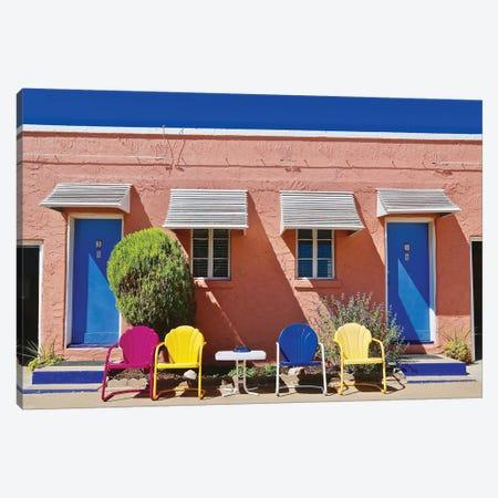Motel Doors And Chairs Canvas Print #SUV64} by Susan Vizvary Art Print