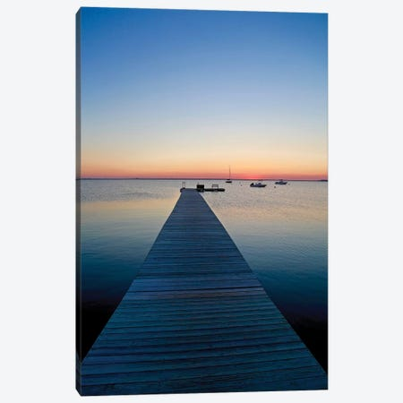 Nantucket Dock At Sunset 3-Piece Canvas #SUV65} by Susan Vizvary Canvas Art Print