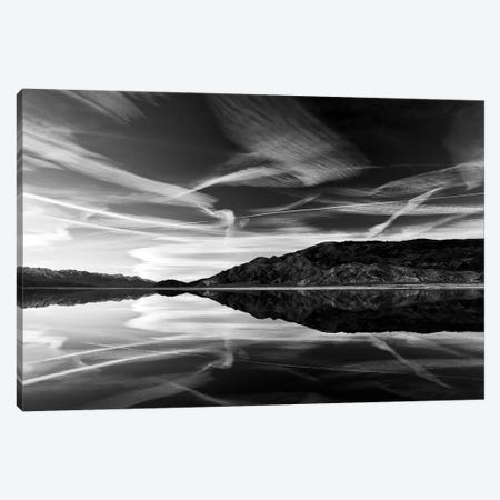 Owens Lake Reflection in Black&White 3-Piece Canvas #SUV69} by Susan Vizvary Canvas Art