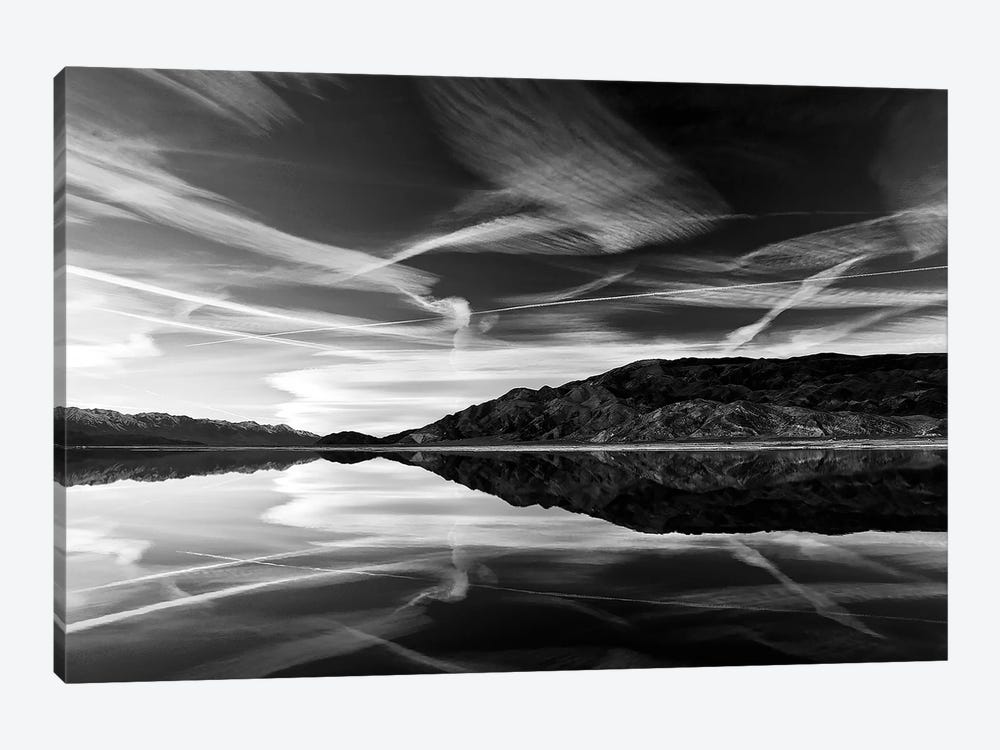 Owens Lake Reflection in Black&White by Susan Vizvary 1-piece Canvas Wall Art