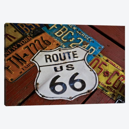 Route 66 License Plates Canvas Print #SUV80} by Susan Vizvary Canvas Wall Art